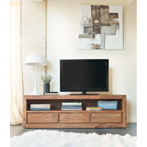 meuble tv 3 tiroirs en bois de sheesham massif stockholm maisons du monde. Black Bedroom Furniture Sets. Home Design Ideas