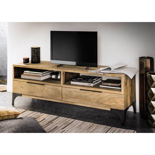 meuble tv en manguier massif l 145 cm metropolis maisons du monde. Black Bedroom Furniture Sets. Home Design Ideas