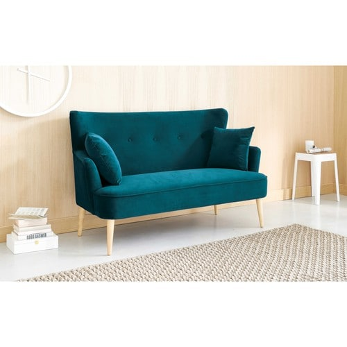 petrol blue 2 seater velvet sofa leon maisons du monde. Black Bedroom Furniture Sets. Home Design Ideas