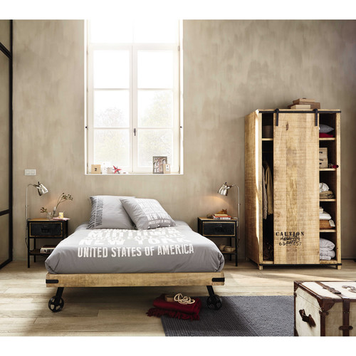 lit roulettes 140x190 en manguier massif manufacture maisons du monde. Black Bedroom Furniture Sets. Home Design Ideas