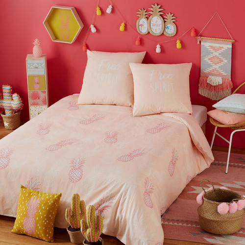 parure de lit en coton rose motifs ananas 140x200 maya maisons du monde. Black Bedroom Furniture Sets. Home Design Ideas