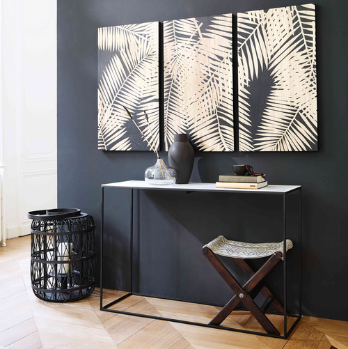White marble and black metal console table marble for Maison du monde console