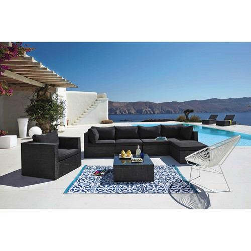 tapis d 39 ext rieur bleu et blanc 140 x 200 cm santorini. Black Bedroom Furniture Sets. Home Design Ideas