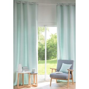 ANDY Blue Cotton Eyelet Curtain 130 x 300