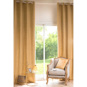 ANDY Curry Yellow Fabric Eyelet Curtain 130 x 300