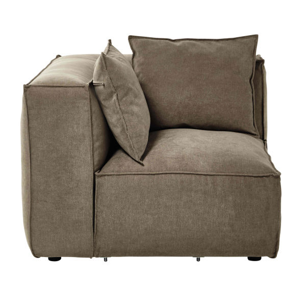 Angle de canapé modulable en tissu taupe chiné Rubens (photo)