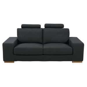 Anthracite 2-seater fabric sofa with headrests