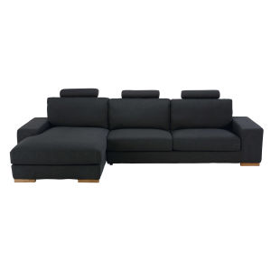 Anthracite 5-seater fabric left hand corner sofa