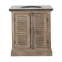 Anthracite Blue Stone and Recycled Pine Single Sink Bathroom Vanity Persiennes