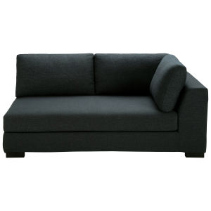 Anthracite Cotton Modular Sofa Bed with Right Armrest
