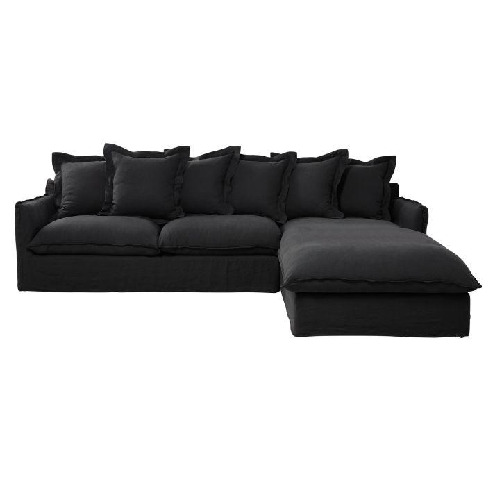 new style 8a28b 5dd35 Anthracite Grey 6-Seater Washed Linen Right-Hand Corner Sofa Bed