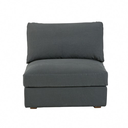 Anthracite Grey Washed Linen Modular Armless Chair