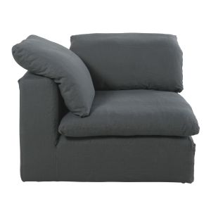 Anthracite Grey Washed Linen Modular Corner Sofa