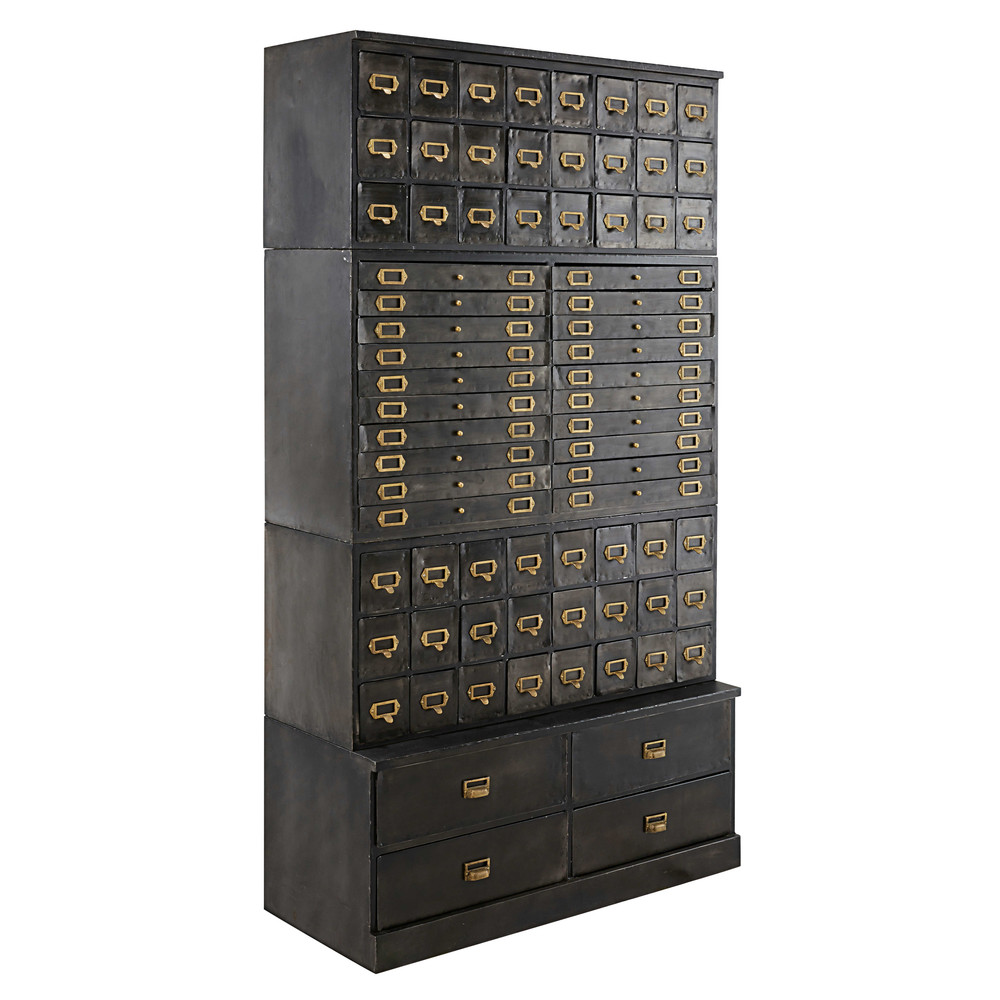 ... Antique Black Metal Storage Cabinet With 72 Drawers. Officine