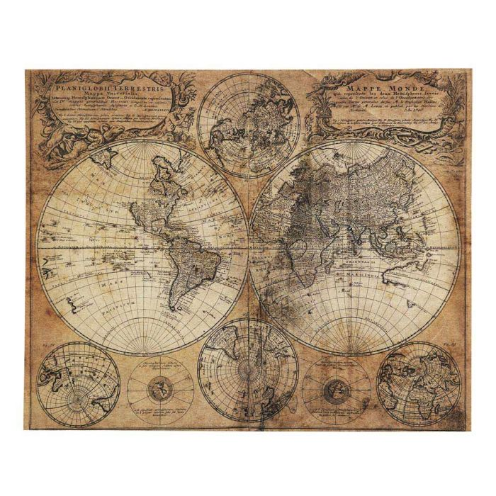 carte maison du monde Antiqued Canvas 73x93 Mappemonde | Maisons du Monde