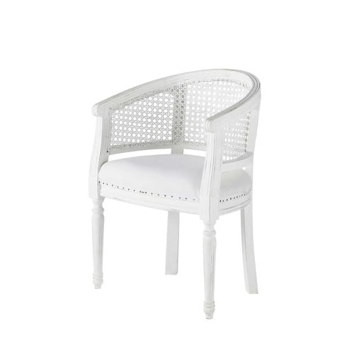 armchair in white cotton and rattan medicis maisons du monde. Black Bedroom Furniture Sets. Home Design Ideas