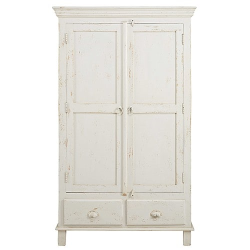 armoire 2 portes 2 tiroirs en manguier blanc patin. Black Bedroom Furniture Sets. Home Design Ideas