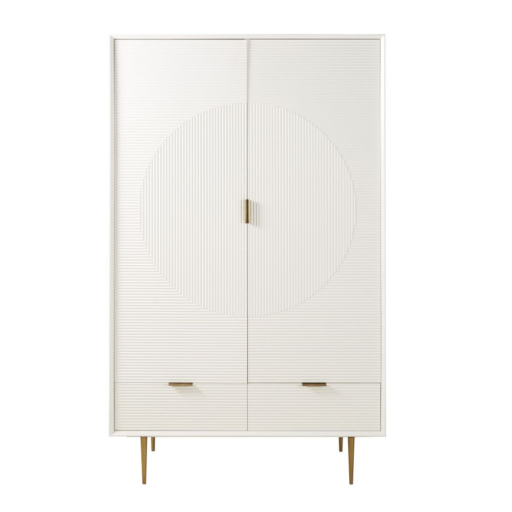 Armoire 2 portes 2 tiroirs en pin blanc satiné Riverside (photo)