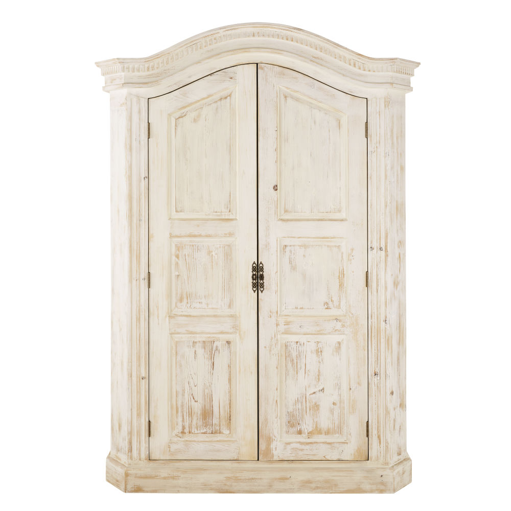 Armoire 2 portes en pin recyclé blanc Sade (photo)