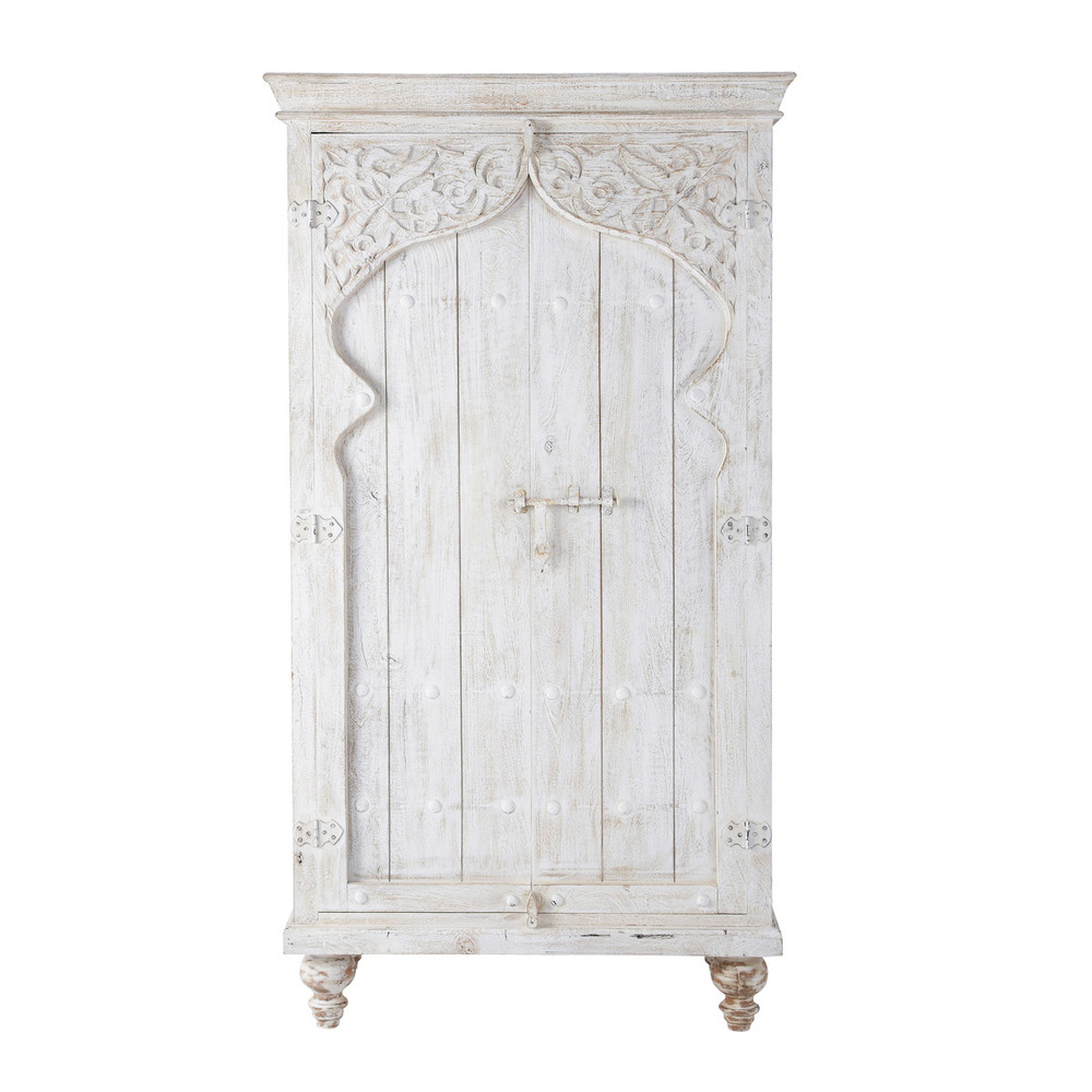 Armoire en manguier blanche L 102 cm Sinbad (photo)
