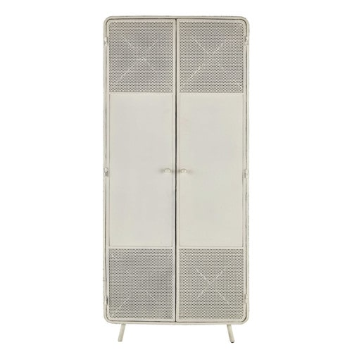 armoire en m tal blanche l 80 cm knokke maisons du monde. Black Bedroom Furniture Sets. Home Design Ideas