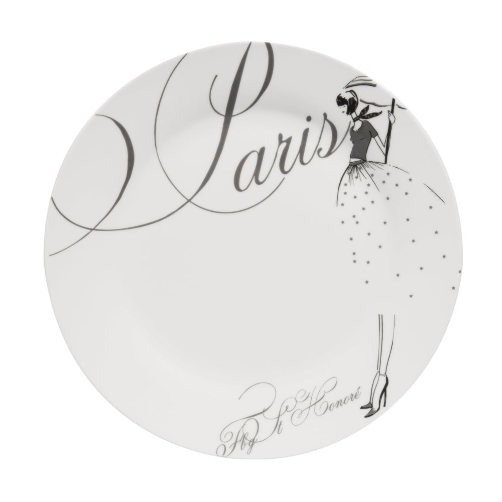 Assiette à dessert en porcelaine blanche D 20 cm PARIS MODEUSE (photo)
