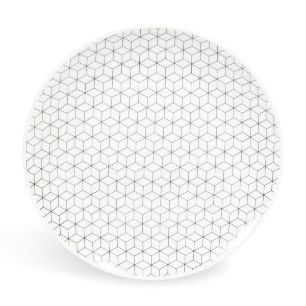 Assiette à dessert en porcelaine D 19 cm GRAPHIQUE (photo)