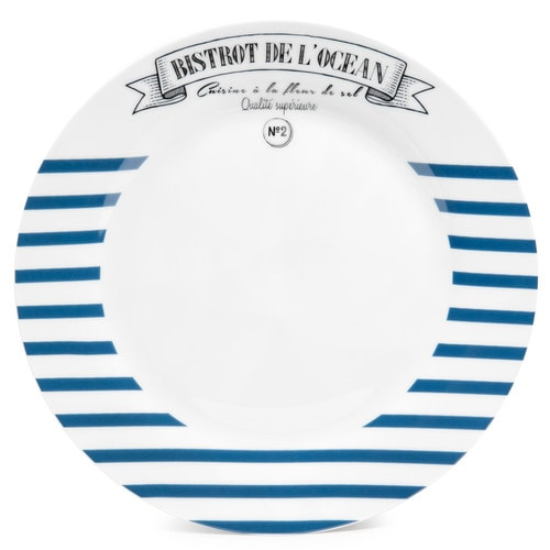 assiette plate rayures en porcelaine bleue d 27 cm marini re maisons du monde. Black Bedroom Furniture Sets. Home Design Ideas