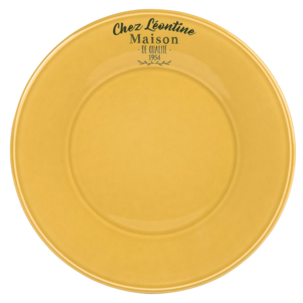 Assiette plate en faïence jaune (photo)