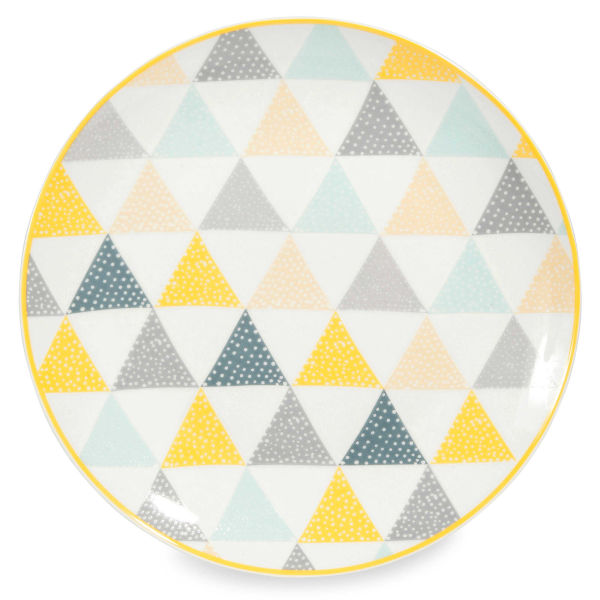 Assiette plate en porcelaine blanche à triangles LEMON
