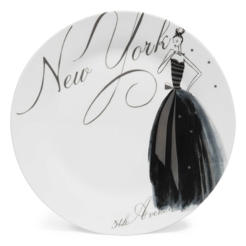 assiette plate en porcelaine blanche d 27 cm nyc modeuse. Black Bedroom Furniture Sets. Home Design Ideas