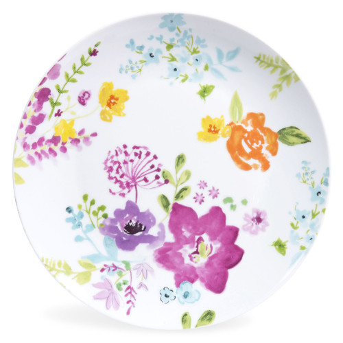 assiette plate en porcelaine motifs fleurs d 27 cm glantine maisons du monde. Black Bedroom Furniture Sets. Home Design Ideas