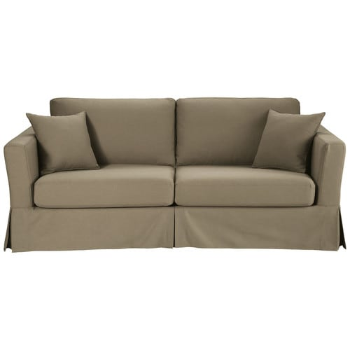 ausziehbares 3 sitzer sofa aus baumwolle taupe royan maisons du monde. Black Bedroom Furniture Sets. Home Design Ideas
