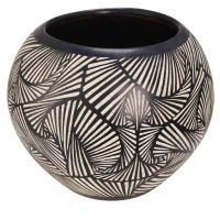 terracotta garden pot with black and white motifs H 38 cm Bamako