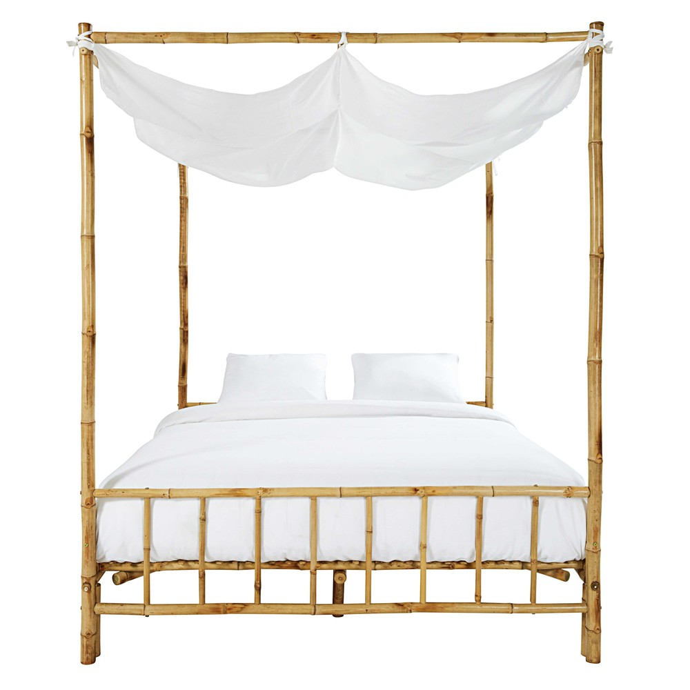 Bamboo and white fabric fourposter bed L 170 cm