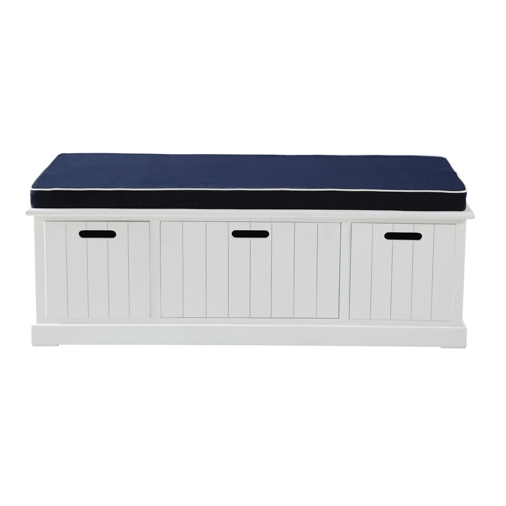 Banc de rangement blanc L 130 cm Princeton (photo)