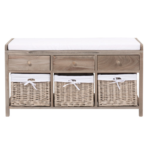 banc de rangement en platane et coton l 103 cm eloise maisons du monde. Black Bedroom Furniture Sets. Home Design Ideas