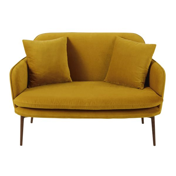 Meubles banquette 2 places en velours jaune moutarde sacha for Banquette 2 places design