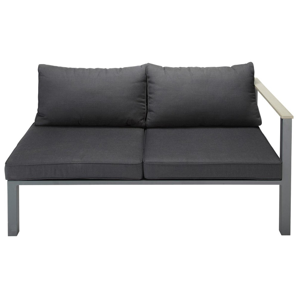 Banquette accoudoir droit de jardin 2 places en aluminium anthracite Bergame (photo)