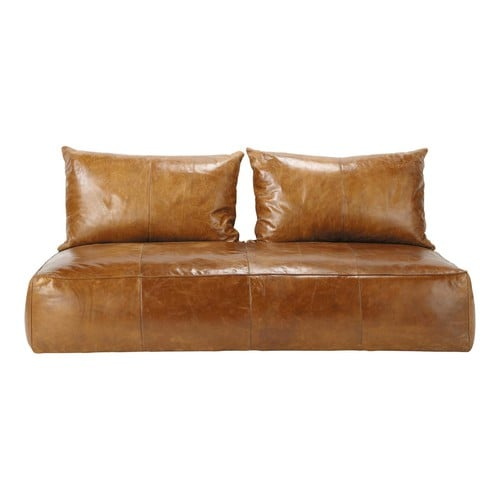 Banquette canap orientale 2 3 places fixe cuir marron for Canape cuir marron 2 places