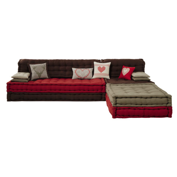 Banquette d'angle 7 places en coton rouge/marron Heidi (photo)