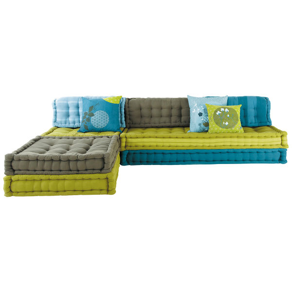 Banquette d'angle modulable 6 places en coton bleue et verte Kimimoi (photo)
