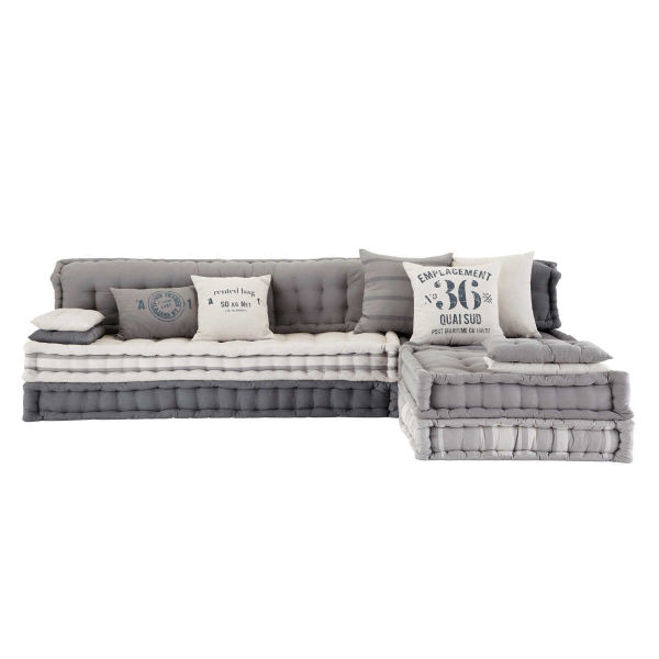 Banquette d'angle modulable 6 places en coton gris Iroise (photo)