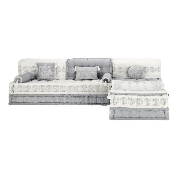 Banquette d'angle modulable 6 places en coton grise et blanche Goa (photo)