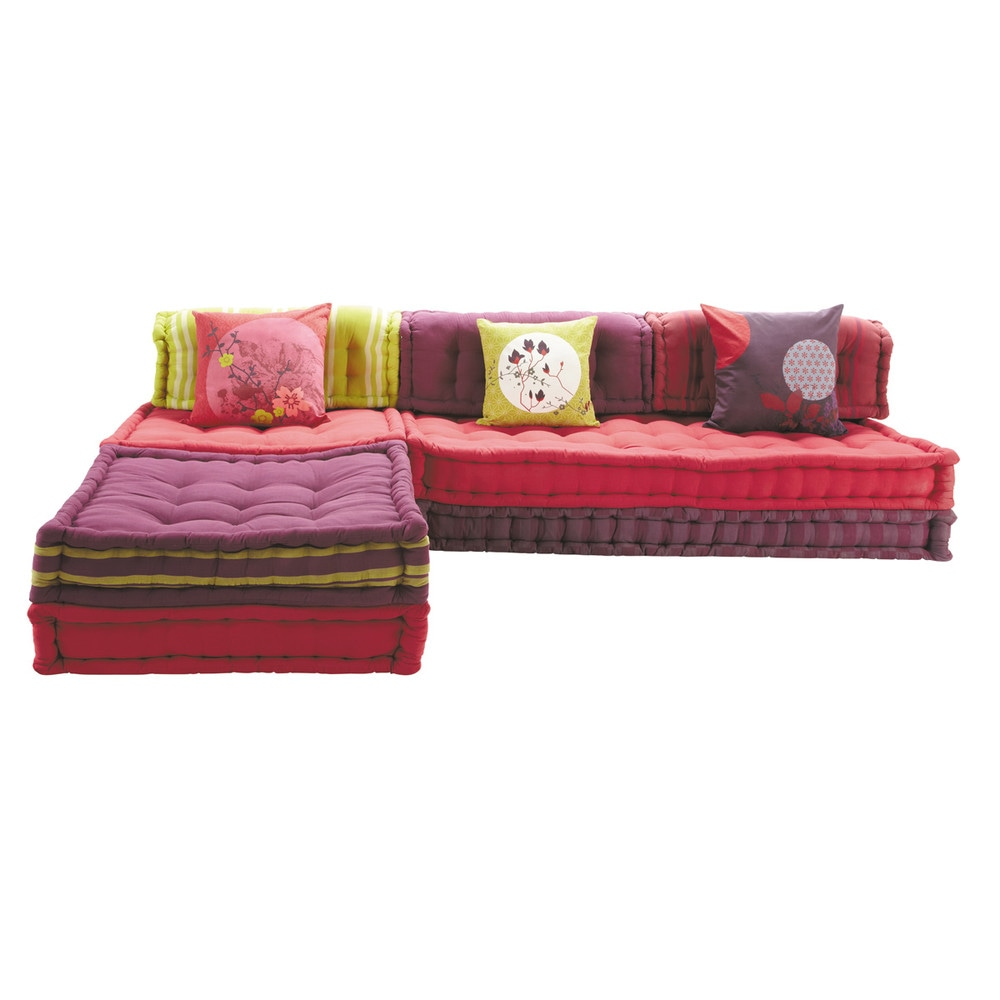 Banquette d'angle modulable 6 places en coton rose Kimimoi (photo)