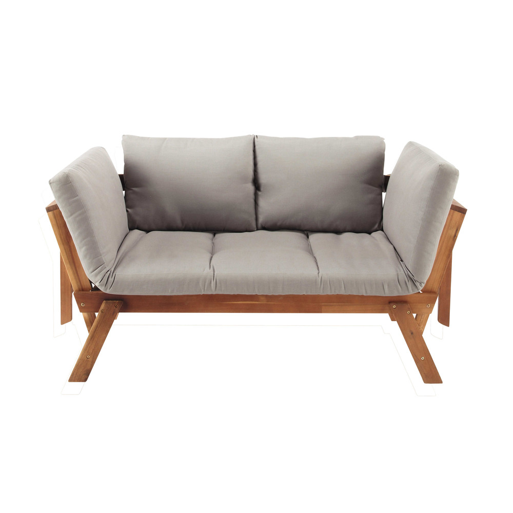 Banquette de jardin modulable 3 places en acacia Relax (photo)