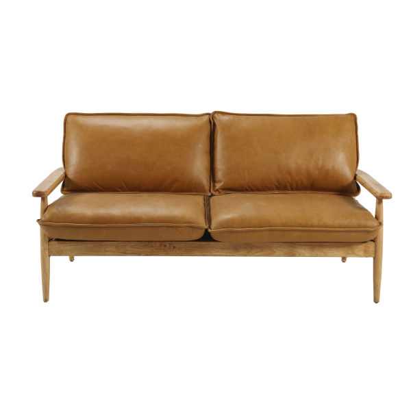 Banquette en cuir de vachette camel L.170cm Harrow (photo)
