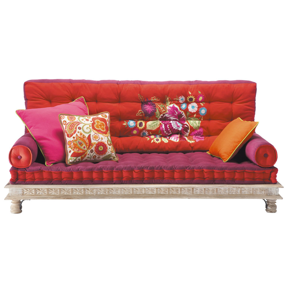 Banquette indienne 2/3 places en coton multicolore Monoï