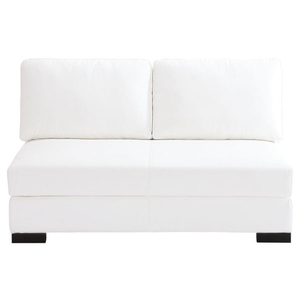 Banquette modulable 2 places en cuir blanc Terence (photo)
