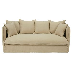 Beige 3/4-seater washed linen sofa bed